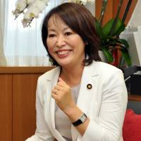 Masako Mori, an Upper House lawmaker and member of Prime Minister Shinzo Abe's Cabinet, speaks to The Japan Times in August. | YOSHIAKI MIURA