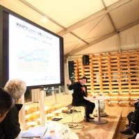 Yoshiaki Fujimori, the CEO of LIXIL, speaks at a talk session during the House Vision 2013 Tokyo Exhibition in March.   LIXIL