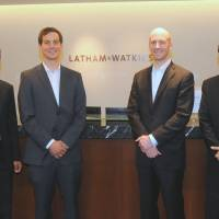 JET set: Former JET teachers (from left) Chirag Batavia, Dan Senger, Clifton Strickler and Joubin Ghojehvand, who returned to Japan to work for Latham & Watkins LLP, gather for a photo in May. |  | SATOKO KAWASAKI