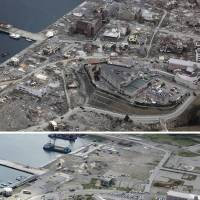 The center of Onagawa, Miyagi Prefecture, is seen March 22, 2011, just 11 days after being leveled by tsunami. Work began in the coastal town Friday (right) to raise seawalls so that housing and commercial buildings can be constructed.  | KYODO