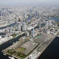 Do not block: This aerial photo shows a part of Tokyo's waterfront area, including Harumifuto, where the accommodation center for atheletes will be built. Ensuring easy access to the area will be one of the top priorities while the Olympics are on. | KYODO