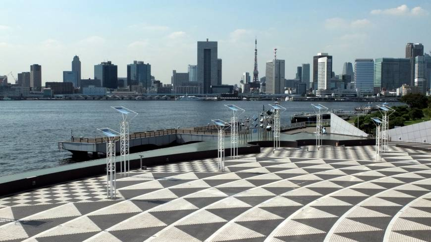 A world away: Central Tokyo is seen from Harumi Pier in Chuo Ward on Sept. 12.