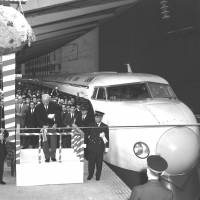 Past and future: Officials celebrate the launch of the Tokaido Shinkansen Line connecting Tokyo and Osaka at Tokyo Station on Oct. 1, 1964. | KYODO/TOKYO2020