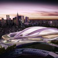 A conceptual image shows how the new Olympic Stadium will look. The sleek building will host the opening and closing ceremonies. | KYODO/TOKYO2020