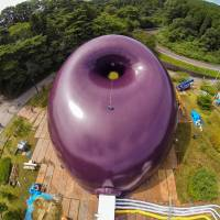 Purple power: An inflatable concert hall that organizers say is the first of its kind has been placed in a park in Matsushima, Miyagi Prefecture. | LUCERNE FESTIVAL ARKNOVA/AFP-JIJI