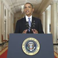 Chemical reaction: U.S. President Barack Obama addresses the nation in a live televised speech on Syria from the East Room of the White House in Washington on Tuesday.    AP