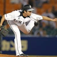 Getting the job done: Marines southpaw Takuya Furuya holds the Lions to two runs in seven innings on Monday at QVC Marine Stadium. Chiba Lotte defeated Seibu 4-3. | KYODO