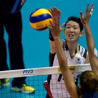 No way through: Yukiko Ebata spikes the ball during Japan's 3-2 defeat to the United States at the World Grand Prix Finals in Sapporo on Sunday. | FIVB