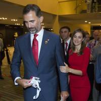 Third time wasn't a charm: Spain's Crown Prince Felipe and and Princess Letizia leave after Madrid's 2020 final presentation at the 125th IOC Session in Buenos Aires on Saturday. Madrid, bidding for the third consecutive time, was eliminated as a host city for the 2020 Olympics, with Tokyo and Istanbul advancing to the final round. | AP