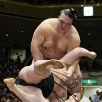 Last man standing: Kisenosato throws Harumafuji to the ground at the Autumn Grand Sumo Tournament on Thursday. | KYODO