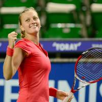 All smiles: Petra Kvitova  reacts after her 3-6, 6-3, 7-6 (7-2) victory over Venus Williams in the semifinals of the Pan Pacific Open on Friday.   AFP-JIJI