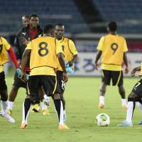 Getting ready: Ghana soccer players practice on Monday, a day before the team's international friendly against Japan at Nissan Stadium in Yokohama. | KYODO