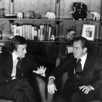 Ground rules: David Frost talks with former President Richard Nixon in March 1977 prior to the taping of his interview with the former president. | AP
