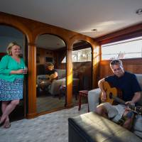 Afloat: Tonya Nichols, with son Matt aboard Golden Princess, the family's 120-sq.-meter, 18-meter-long houseboat in Washington, D.C. | THE WASHINGTON POST