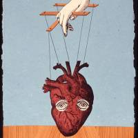 Sleep off your fear: Audrey Niffenegger's collage 'Heartstrings' is part of the exhibit 'Awake in the Dream World,' focusing on the head as a metaphor for emotions, at the National Museum of Women in the Arts in Washington. | THE WASHINGTON POST