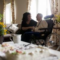 Far away: Sonja Miskulin (right), a former translator suffering from dementia, celebrates her 94th birthday with her daughter Ilona von Haldenwang at the Polish care home for the elderly in Szklarska Poreba, Poland, on Aug. 24. | BLOOMBERG