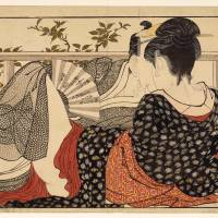 Between the sheets: 'Lovers in the upstairs room of a teahouse' from 'Utamakura (Poem of the Pillow)' (c. 1788) by Kitagawa Utamaro (d. 1806) | © THE TRUSTEES OF THE BRITISH MUSEUM