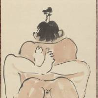 A detail of one of three comic shunga paintings (c. 1871-1889) by Kawanabe Kyosai (1831-1889) | ISRAEL GOLDMAN COLLECTION