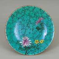 Porcelain dish; part of a series using overglaze polychrome enamels (jikkin-de) | NOZAKI'S HISTORICAL MUSEUM