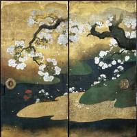 Detail of the Important Cultural Property 'Cherry Blossoms' (1626), Ninoma (Second Room), Kuroshoin, Ninomaru Palace, by Kano Naonobu | KYOTO CITY (NIJO CASTLE OFFICE)