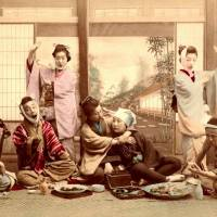 Back in the day: An antique postcard shows revelers and geisha partying circa 1869 | ROB OECHSLE COLLECTION