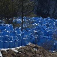 Bags containing waste left over after radiation decontamination are stored near Kawauchi, Fukushima Prefecture, on March 5. | BLOOMBERG