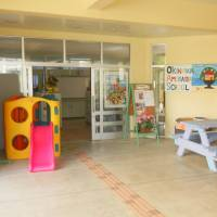 Doors open: The outside of the AmerAsian School in Okinawa, which is located in Ginowan City.   MICHAEL BRADLEY