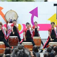 University fun: Students beat the drum for the Waseda-sai festival.