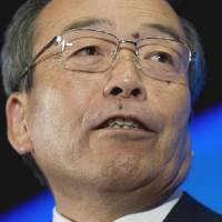 Reality check: Toyota Motor Corp. Chairman Takeshi Uchiyamada attends an Economic Club event Monday in Washington. | AFP-JIJI