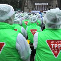 Last stand: Members of the JA group (Central Union of Agricultural Cooperatives) wear 'Stop TPP' logos as they attend a rally against Japan joining the Trans-Pacific Partnership in Tokyo on Wednesday. | AFP-JIJI