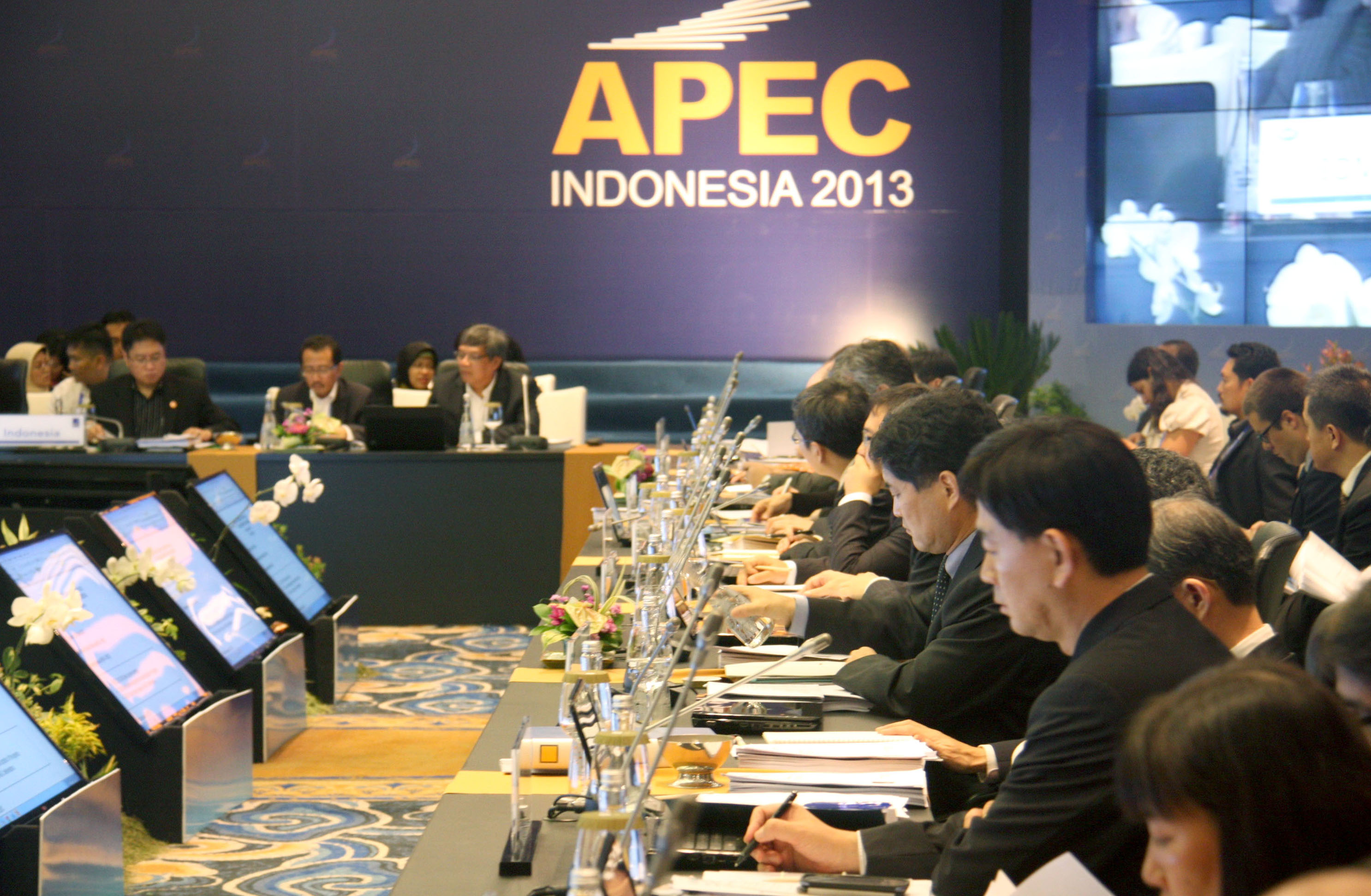 Nitty-gritty: APEC member state delegates hold discussions Tuesday during their three-day high-level working group session in Nusa Dua, Indonesia.   KYODO