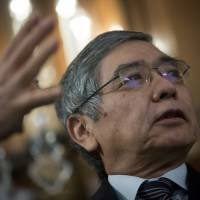 Staying on point: Bank of Japan Gov. Haruhiko Kuroda speaks at the Council On Foreign Relations in New York on Thursday. | BLOOMBERG