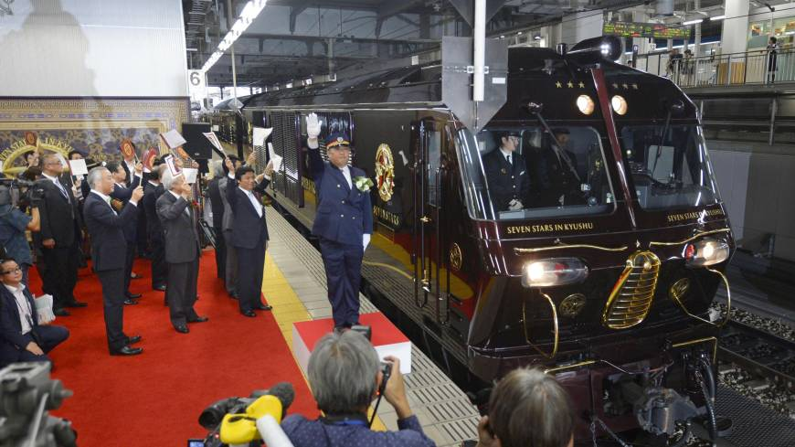 Riding in style: A spacious suite in the Seven Stars in Kyushu, the new luxury train operated by Kyushu Railway Co., is unveiled to the press earlier this month. The train departs from JR Hakata Station on Tuesday.