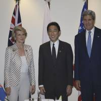 Concerned parties: Foreign Minister Fumio Kishida poses with U.S. Secretary of State John Kerry (right) and Australian Foreign Minister Julie Bishop before their trilateral talks Friday on the margins of an APEC ministerial meeting in Nusa Dua, Indonesia.   AFP-JIJI