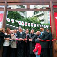 New foundation for ties: Turkish and Japanese officials attend a ribbon-cutting ceremony at Atsushi Miyazaki Park in Istanbul on Saturday.   KYODO