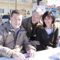 On the stump:  Tomio Okamura campaigns on Oct. 19 in Benešov, 40 km south of Prague. Okamura's early life was split between Japan and Czechoslovakia. 'I fought racism by always trying to be better than those who spat at me because of my Caucasian-Asian origins,' he says.  | COURTESY OF DAWN OF DIRECT DEMOCRACY
