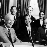 Positive feedback: U.S. President Dwight D. Eisenhower shares a light moment with Prime Minister Nobusuke Kishi during their June 1957 meeting in the White House | AP/KYODO