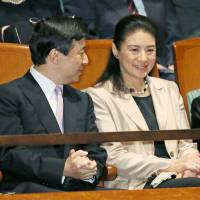 Night on the town: Crown Prince Naruhito and Crown Princess Masako take in a classic concert Tuesday in Shibuya Ward, Tokyo.  | KYODO