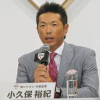 Supreme commander: Samurai Japan manager Hiroki Kokubo talks at a news conference in Tokyo on Wednesday. | KYODO