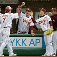 Commanding advantage: Kazuo Matsui and his Tohoku Rakuten Golden Eagles teammates are one win away from a trip to the Japan Series. After beating the Chiba Lotte Marines 2-0 in Game 3 of the Pacific League Climax Series Final Stage on Saturday at Kleenex Stadium, the Eagles have a 3-1 lead in the series. | KYODO