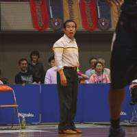 So far, so good: Akita Northern Happinets coach Kazuo Nakamura has guided his club to four victories in as many games to open the 2013-14 season.   KAZ NAGATSUKA