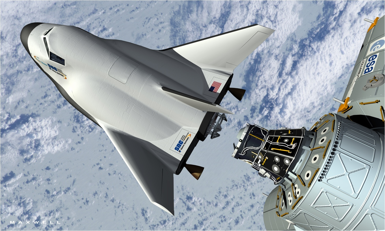 High ambition: An artist's rendering provided by Sierra Nevada Space Systems shows the company's proposed Dream Chaser spacecraft docking with the International Space Station | AP
