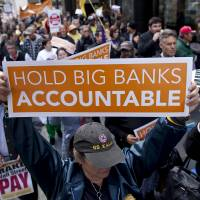 Too lenient with lenders?: Demonstrators protest against the bailouts of big banks in San Francisco in the midst of the global financial crisis in April 2010 | BLOOMBERG