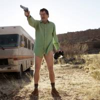 Meth-mobile:  Walter White, played by Bryan Cranston, stands next to the  Winnebago he uses as a mobile meth lab in the pilot episode of 'Breaking Bad.' The final episode of the popular  TV drama series aired Sunday in the U.S. | AP