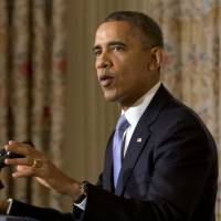 Next task: President Barack Obama speaks in the White House on Thursday after lawmakers voted to end the government shutdown.   AP