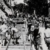 'The Line': Australian and British prisoners of war lay track on the Burma-Thailand railway in 1943.   CREATIVE COMMONS