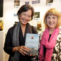 Every Man Booker Prize shortlisted author receives an original handmade book, and Angela James (right), made the special edition of 'A Tale for the Time Being' given to Ruth Ozeki (left).   MAN BOOKER/JANIE AIREY