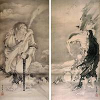 'Portrait of Li Tiegua' (left, circa 1770) in a pair of hanging scrolls by Soga Shohaku.