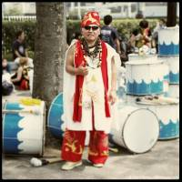 Yoshino, 57, sales: 'Of course, Yoshino-san doesn't play all the percussion instruments behind him, just the biggest one. Actually, playing isn't the word; he hits it with all his strength. He and his companions produce percussion-only Brazilian music that makes you dance without realizing you're doing it.'   CEDRIC RIVEAU