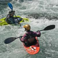 Mini-kayaking in a gentler part of the Tama River's rapids. | STEPHEN MANSFIELD PHOTO